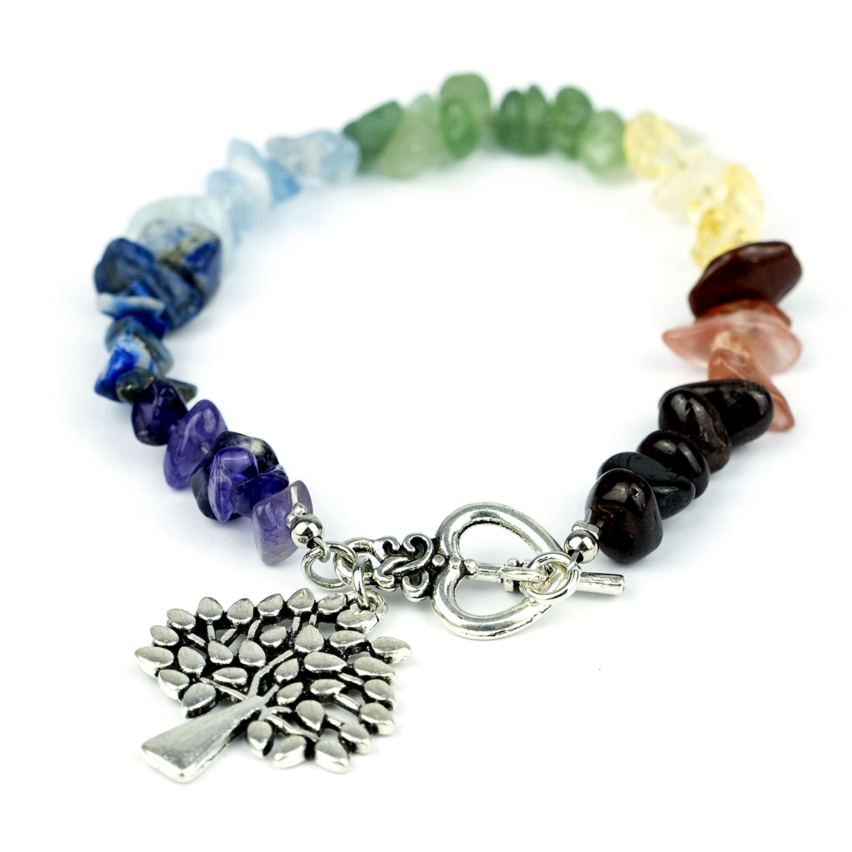 Bracelet de pierres naturelles de chakra avec fermoir toggel en alliage de coeur et arbre de vie