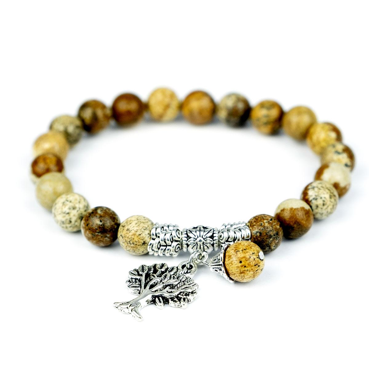 Bracelet extensible en jaspe naturel avec pendentif de style tibétain