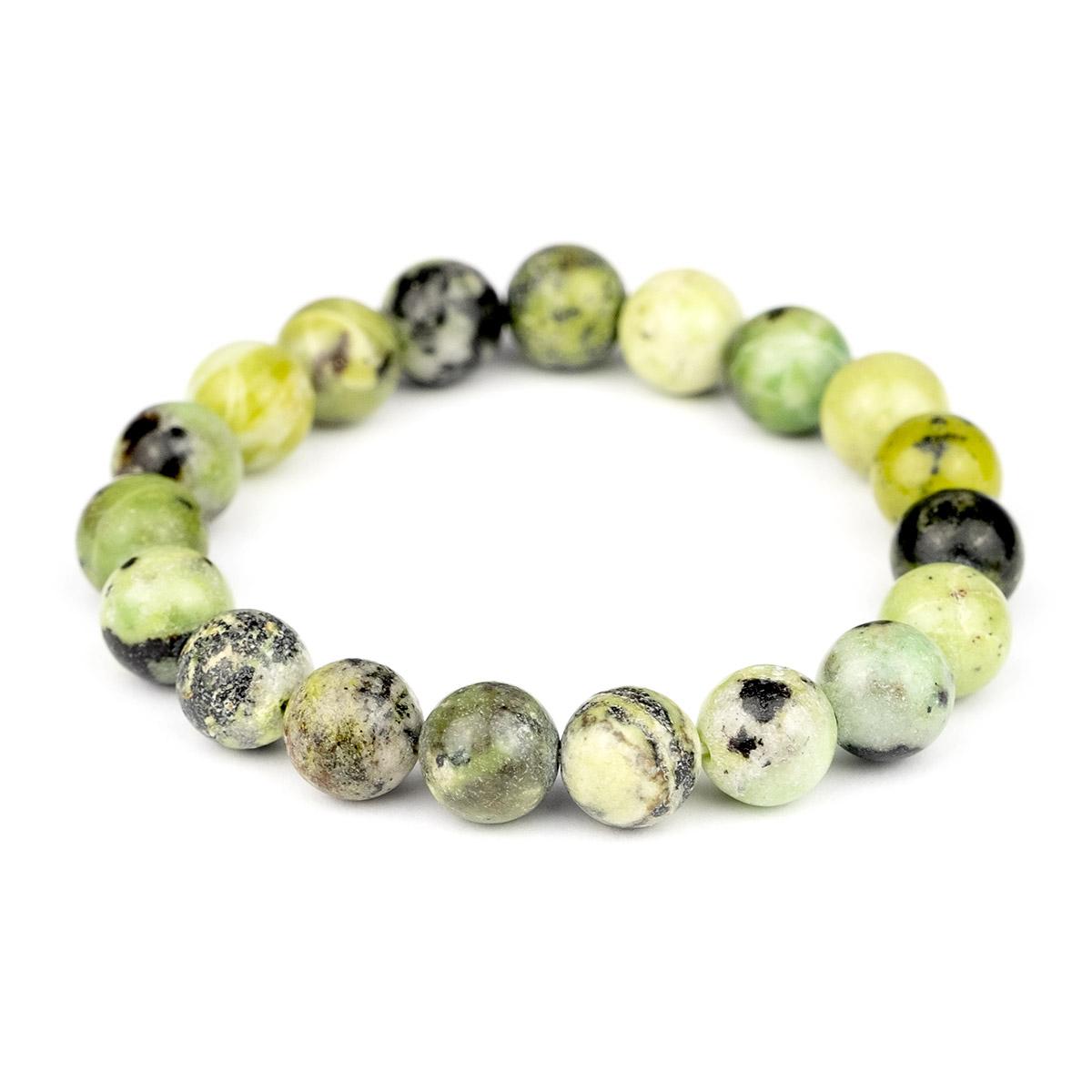 Bracelet extensible en perles de chrysoprase citron 10mm