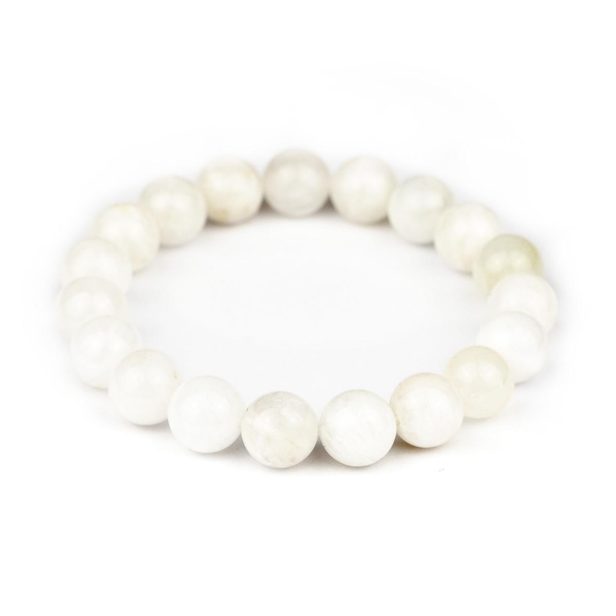 Bracelet extensible en perles de pierre de lune blanche 10mm