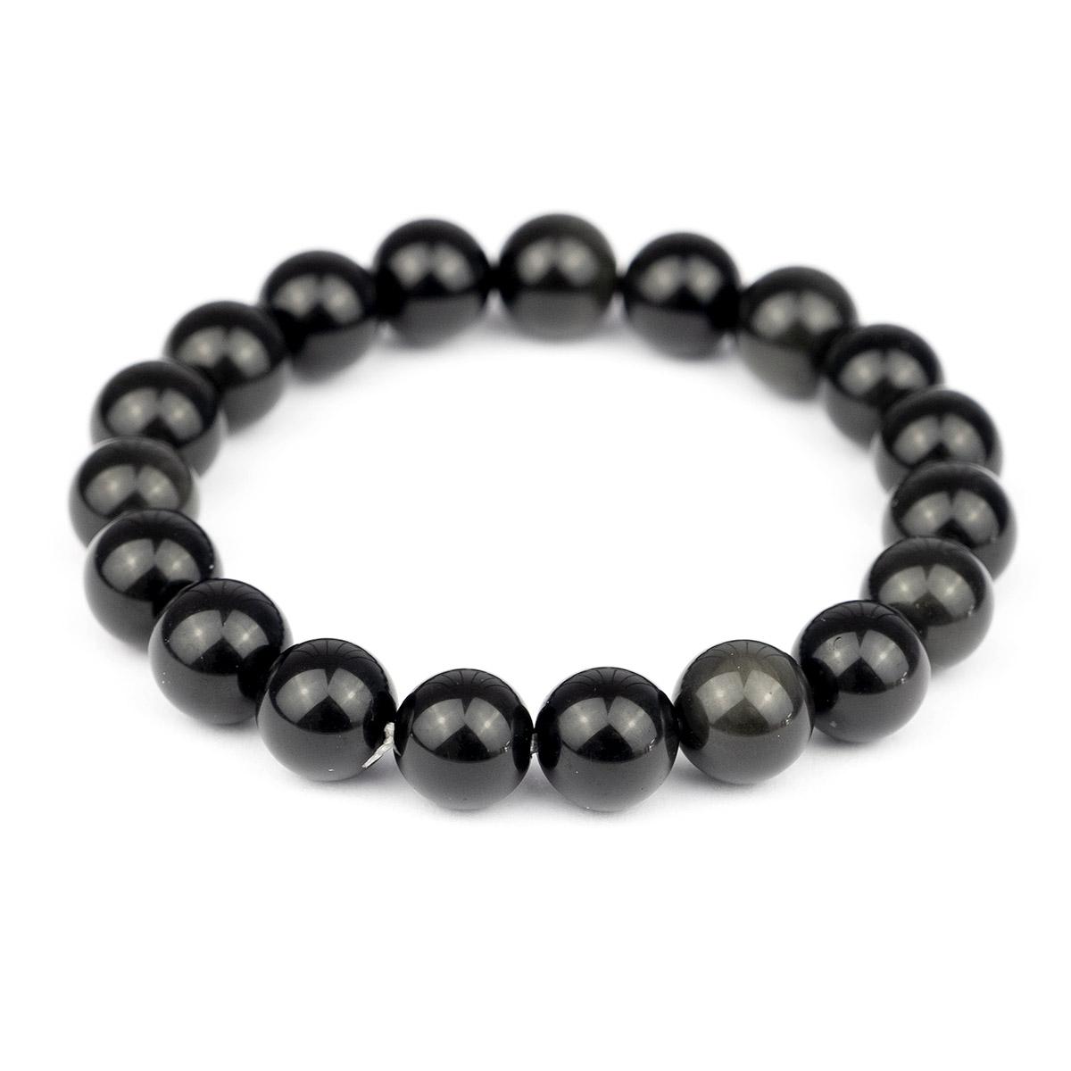Bracelet extensible en perles d'obsidienne d'or 10mm