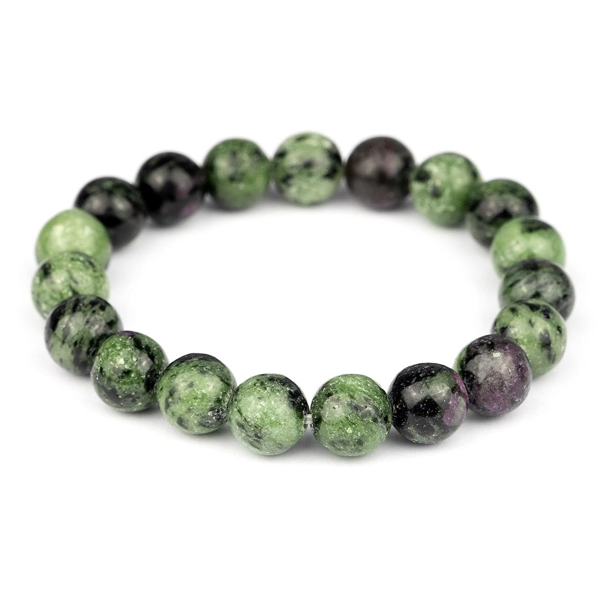 Bracelet extensible en perles de Rubis Zoïsite 10 mm