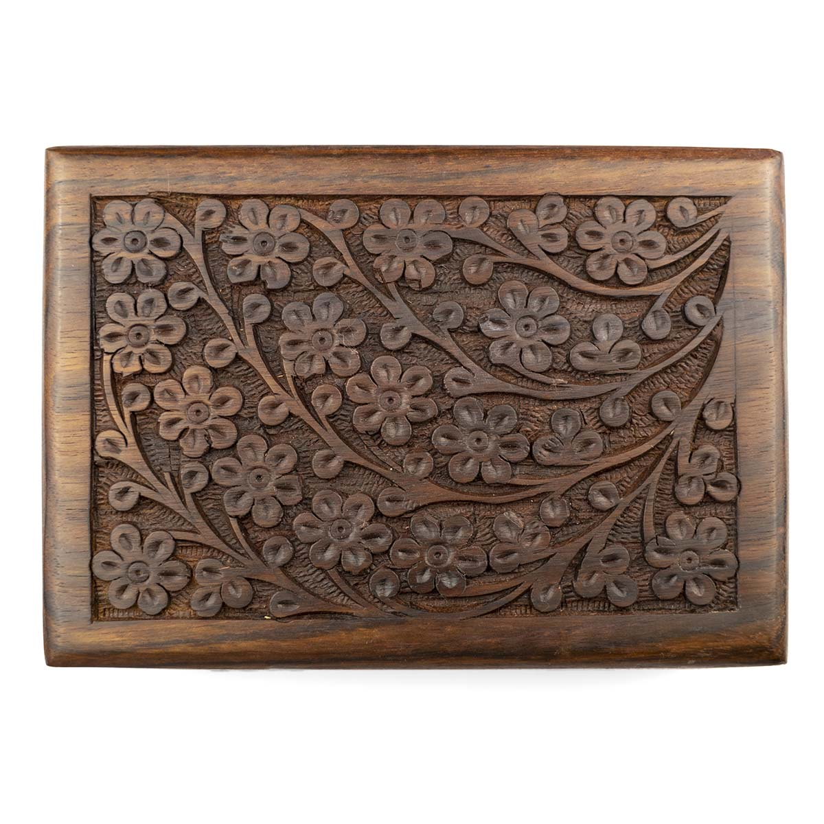 Coffret à bijoux artisanale en bois sculpté