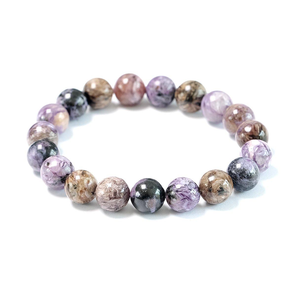 Bracelet stretch en perles de Charoite 10mm