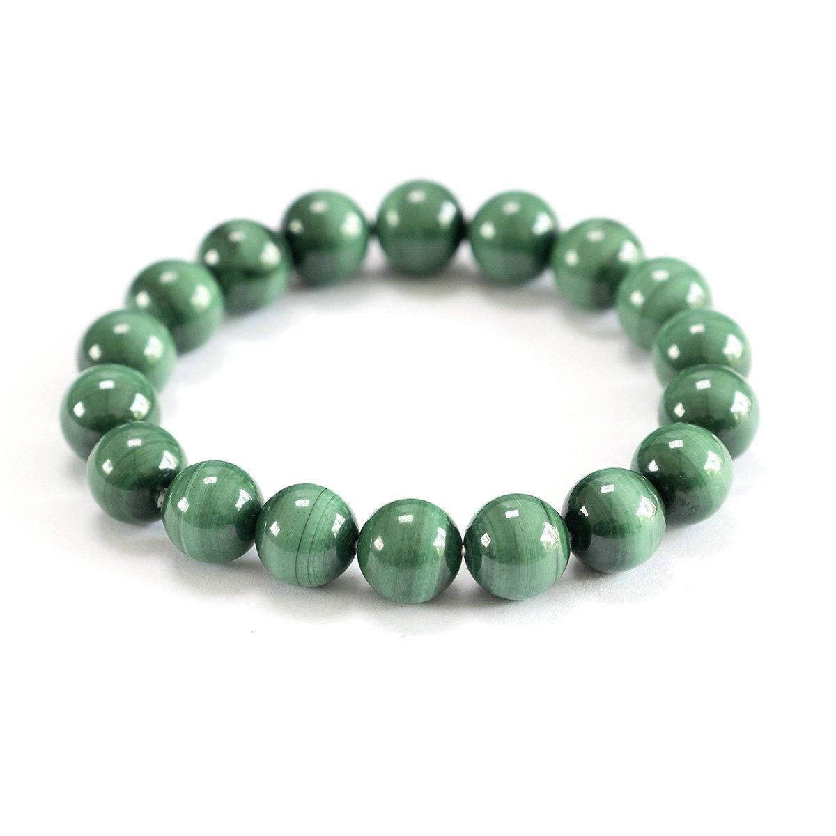 Bracelet extensible en perles de light malachite 10 mm